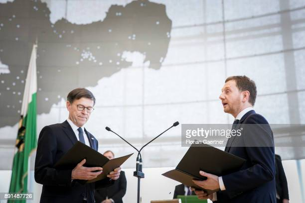Matthias Roessler president of the Landtag of Saxony and Michael Kretschmer new prime minister of the German State of Saxony are pictured during the...