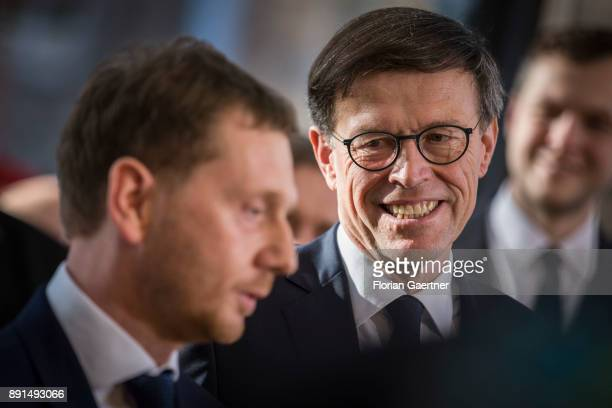 Matthias Roessler president of the Landtag of Saxony and Michael Kretschmer new prime minister of the German State of Saxony are pictured on December...
