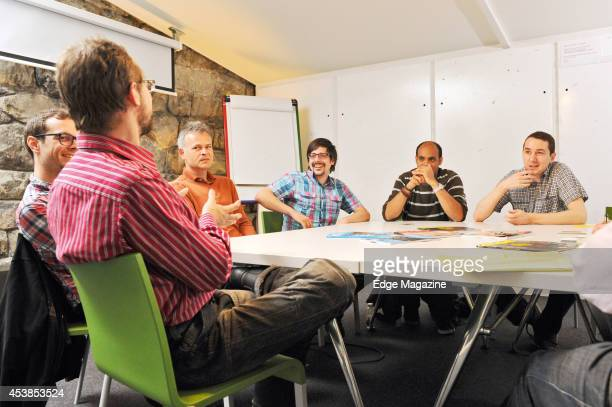 Matthias Sala Adam Moravanszky Bet Suter Reto Senn Shaban Shaame and Thomas Frey during a roundtable talk on the Swiss games industry on April 19 2013