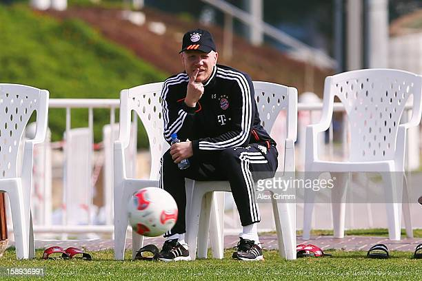 Matthias Sammer attends a Bayern Muenchen training session at the ASPIRE Academy for Sports Excellence on January 4 2013 in Doha Qatar