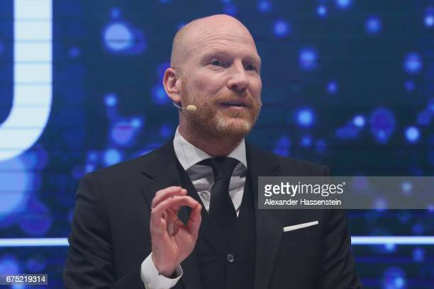 Matthias Sammer hold the laudatory speech for the Iphitos Award 2017during the Players Night of the 102 BMW Open by FWU at Iphitos tennis club on...
