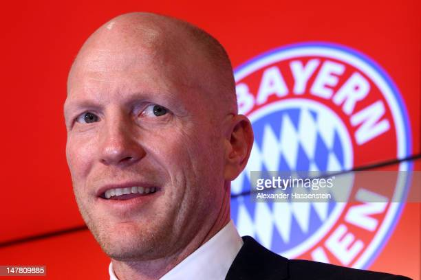 Matthias Sammer new Senior Executive President Sport of FC Bayern Muenchen looks on during a press conference at Allianz Arena on July 3 2012 in...