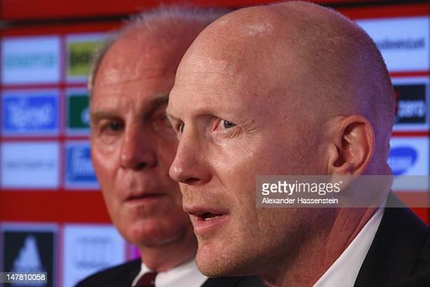 Matthias Sammer new Senior Executive President Sport of FC Bayern Muenchen looks on with Uli Hoeness President of FC Bayern Muenchen during a press...