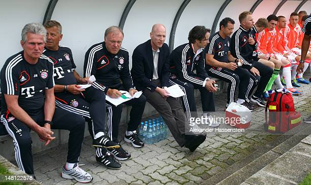 Matthias Sammer new Senior Executive President Sport of FC Bayern Muenchen looks on at the bench prior the friendly match between SpVgg Unterhaching...