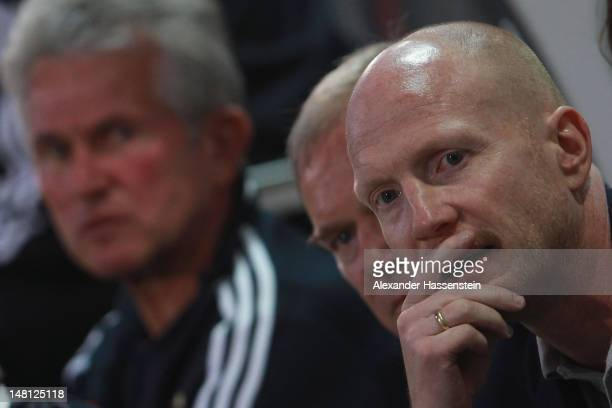 Matthias Sammer new Senior Executive President Sport of FC Bayern Muenchen looks from the bench during the friendly match between SpVgg Unterhaching...