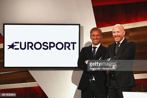 Matthias Sammer poses with Jan Henkel during a photocall at Eurosport studios on January 16, 2017 in Munich, Germany.