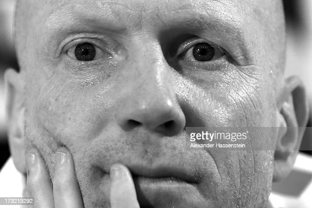 Matthias Sammer, sporting director of FC Bayern Muenchen looks on during a press conference at Centro Congressi on July 10, 2013 in Riva del Garda,...