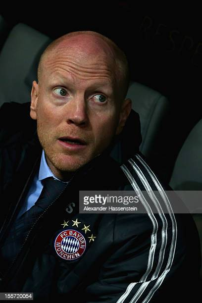 Matthias Sammer, sporting director of Muenchen looks on prior the UEFA Champions League group F match between FC Bayern Muenchen and LOSC Lille at...