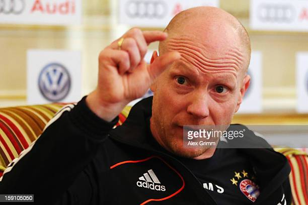 Matthias Sammer talks to the media during a Bayern Muenchen press conference at the Grand Heritage Hotel on January 8 2013 in Doha Qatar