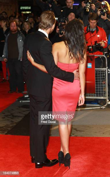 Matthias Schoenaerts and Alexandra Schouteden attends the Premiere of 'Rust and Bone' during the 56th BFI London Film Festival at Odeon West End on...
