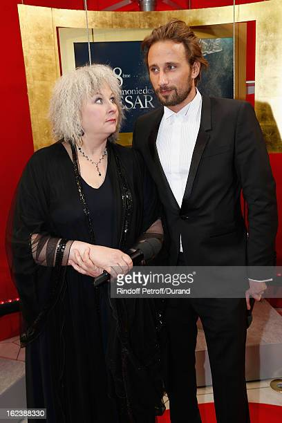 Matthias Schoenaerts and Yolande Moreau arrive to attend the Cesar Film Awards 2013 at Theatre du Chatelet on February 22 2013 in Paris France