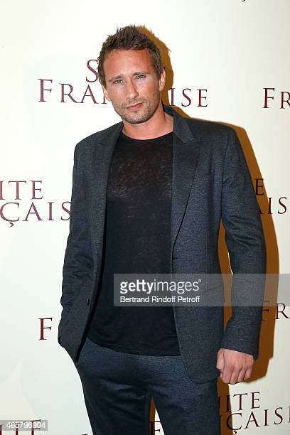 Matthias Schoenaerts attends the world premiere of 'Suite Francaise' at Cinema UGC Normandie on March 10 2015 in Paris France