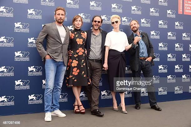 Matthias Schoenaerts Luca Guadagnino Dakota Johnson Tilda Swinton and Ralph Fiennes attend a photocall for 'A Bigger Splash' during the 72nd Venice...