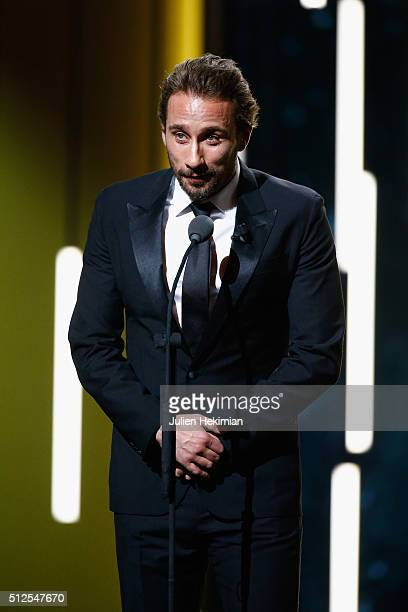 Matthias Schoenaerts on stage during The Cesar Film Award 2016 at Theatre du Chatelet on February 26 2016 in Paris France