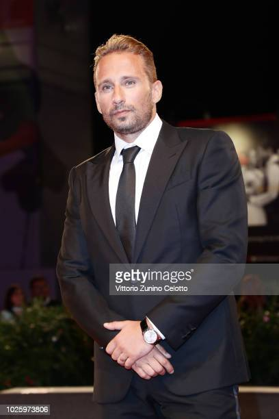 Matthias Schoenaerts walks the red carpet ahead of the 'Freres Ennemis ' screening during the 75th Venice Film Festival at Sala Grande on September 1...