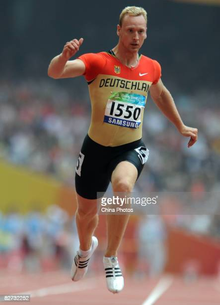 Matthias Schroder of Germany competes in the Men's 100M T12 semi-final Athletics event at the National Stadium during day three of the 2008...