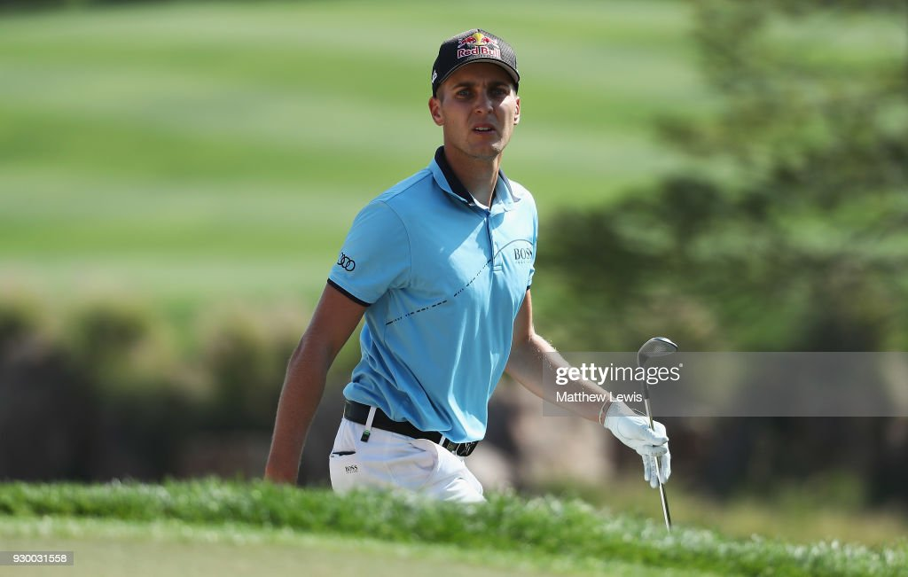 Matthias Schwab of Austria looks on during day three of the Hero Indian Open at Dlf Golf and Country Club on March 10, 2018 in New Delhi, India.