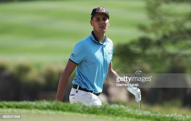 Matthias Schwab of Austria looks on during day three of the Hero Indian Open at Dlf Golf and Country Club on March 10 2018 in New Delhi India