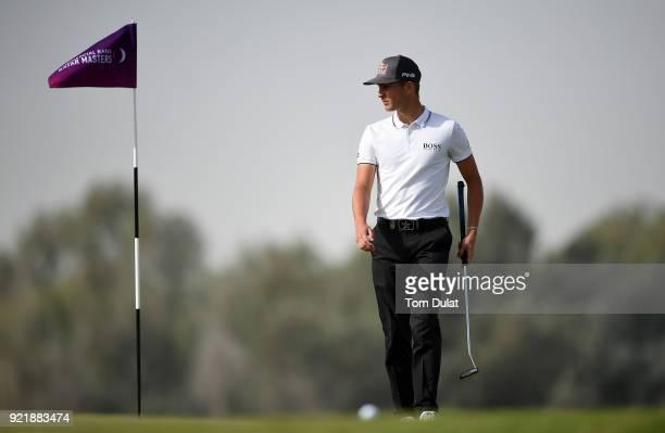 Matthias Schwab of Austria looks on prior to the Commercial Bank Qatar Masters at Doha Golf Club on February 21 2018 in Doha Qatar