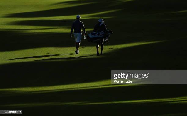 Matthias Schwab of Austria plays a practice round ahead of the Turkish Airlines Open at the Regnum Carya Golf Spa Resort on October 31 2018 in...