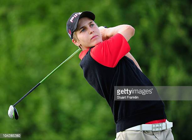 Matthias Schwab of Austria plays a shot during the final round of the Austrian golf open presented by Botarin at the Diamond country club on...