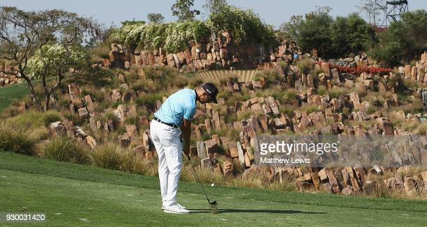 Matthias Schwab of Austria plays his second shot from the 17th fairway during day three of the Hero Indian Open at Dlf Golf and Country Club on March...