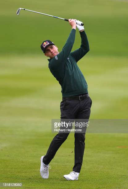 Matthias Schwab of Austria plays his second shot on the first hole during the final round of The Betfred British Masters hosted by Danny Willett at...