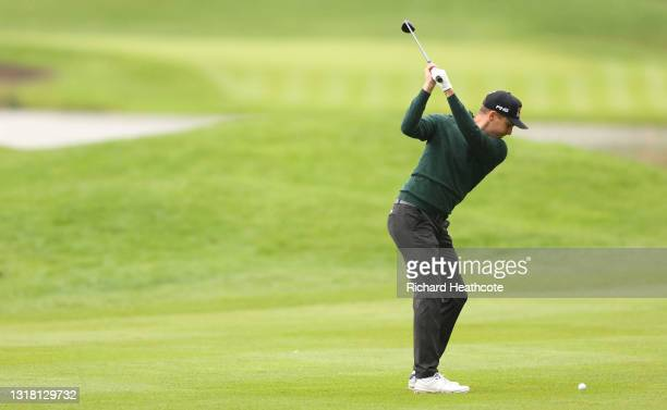 Matthias Schwab of Austria plays his second shot on the third hole during the final round of The Betfred British Masters hosted by Danny Willett at...