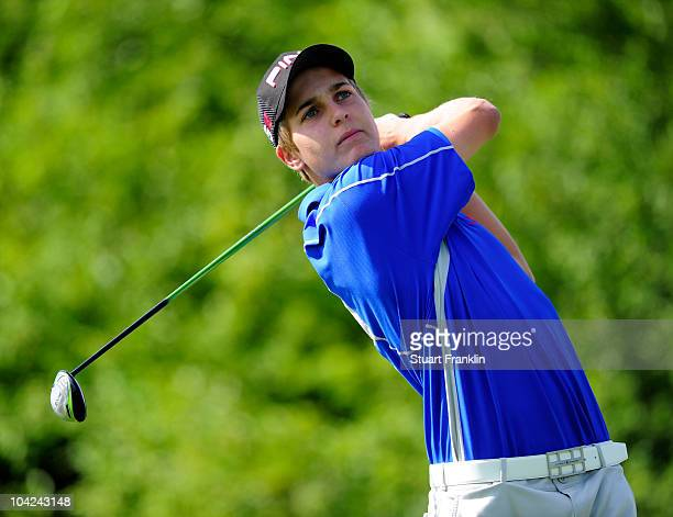 Matthias Schwab of Austria plays his tee shot on the fifth hole during the third round of the Austrian golf open presented by Botarin at the Diamond...