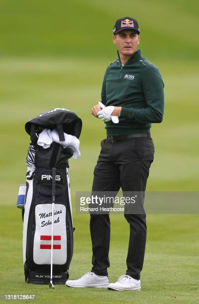 Matthias Schwab of Austria prepares to play his second shot on the first hole during the final round of The Betfred British Masters hosted by Danny...