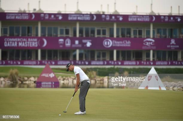 Matthias Schwab of Austria putts on the 9th green during the first round of the Commercial Bank Qatar Masters at Doha Golf Club on February 22 2018...