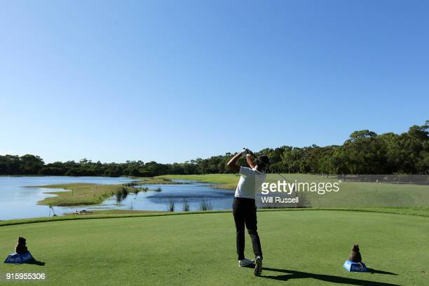 Matthias Schwab of Austria takes his tee shot on the 3rd hole during day two of the World Super 6 at Lake Karrinyup Country Club on February 9 2018...