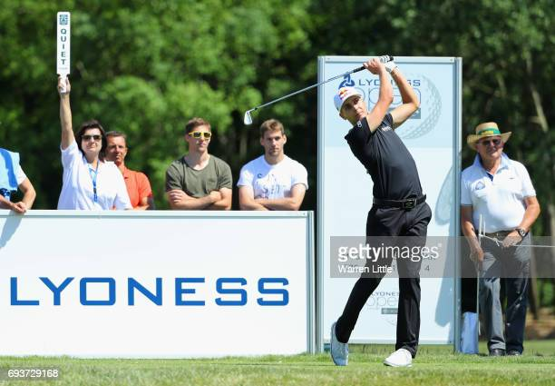 Matthias Schwab of Austria tees off on the 7th hole during day one of the Lyoness Open at Diamond Country Club on June 8 2017 in Atzenbrugg Austria
