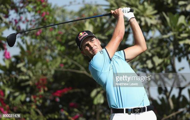 Matthias Schwab of Austria tees offon the 18th hole during day three of the Hero Indian Open at Dlf Golf and Country Club on March 10 2018 in New...