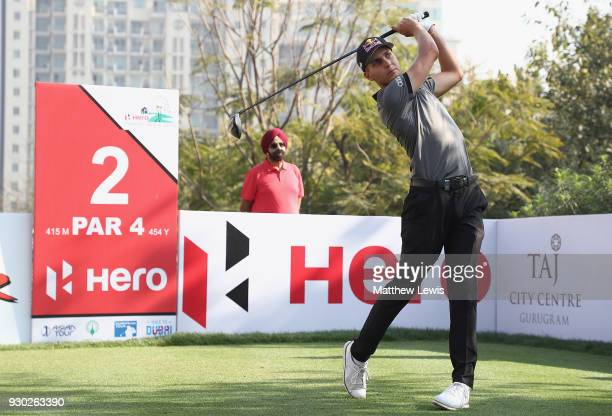 Matthias Schwab of Austria tees offon the 2nd hole during day four of the Hero Indian Open at Dlf Golf and Country Club on March 11 2018 in New Delhi...