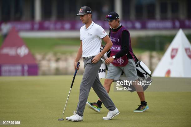 Matthias Schwab of Austria walks on the 9th green during the first round of the Commercial Bank Qatar Masters at Doha Golf Club on February 22 2018...