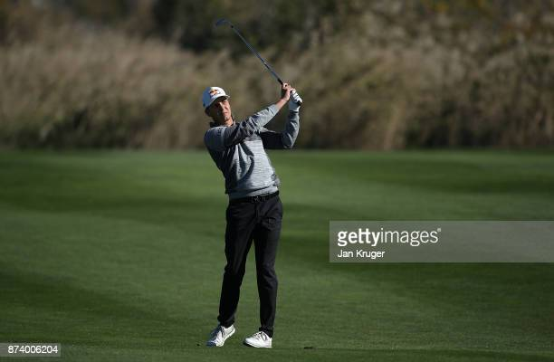 Matthias Schwab of Germany plays an approach shot during round four of the European Tour Qualifying School Final Stage at Lumine Golf Club on...