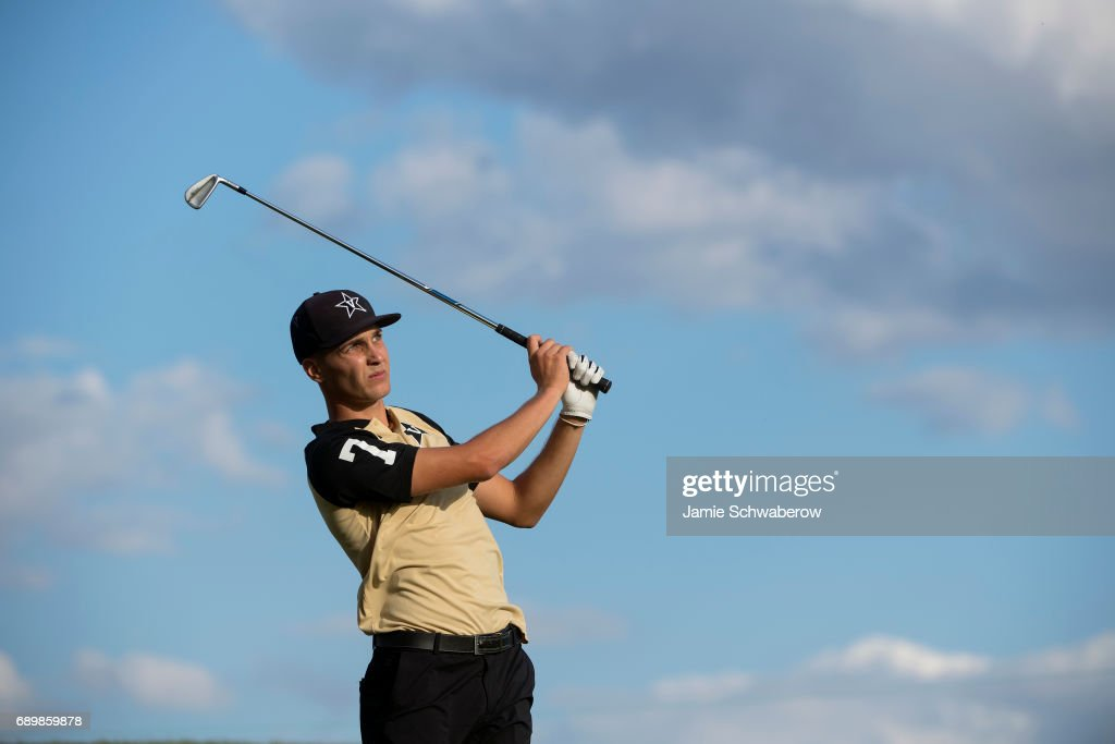 Matthias Schwab of Vanderbilt University tees off during the Division I Men's Golf Individual Championship held at Rich Harvest Farms on May 29, 2017 in Sugar Grove, Illinois. Schwab tied for third place with a -6 score.