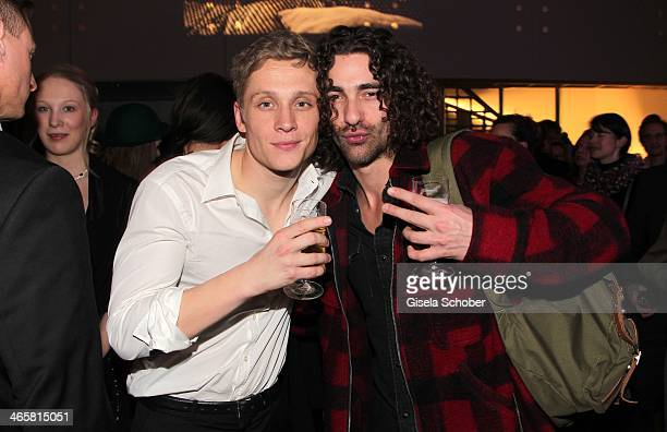 Matthias Schweighoefer and best friend Andreas Nowak of Silbermond attend the premiere of the film 'Vaterfreuden' at Mathaeser Filmpalast on January...