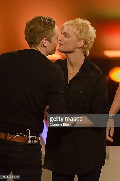 Matthias Schweighoefer and Erika Eleniak attend the taping of 'Back To School Gottschalks grosses Klassentreffen' Show on January 23 2014 in Berlin...