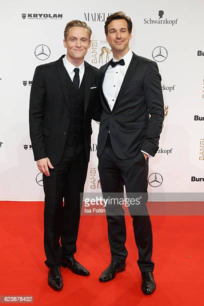 Matthias Schweighoefer and Florian David Fitz arrive at the Bambi Awards 2016 at Stage Theater on November 17 2016 in Berlin Germany
