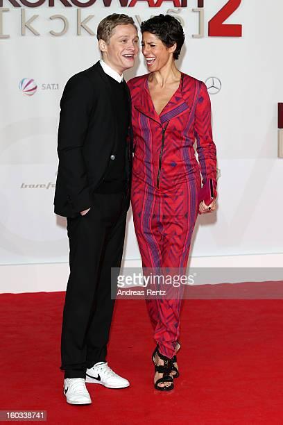 Matthias Schweighoefer and Jasmin Gerat attends 'Kokowaeaeh 2' Germany Premiere at Cinestar Potsdamer Platz on January 29 2013 in Berlin Germany