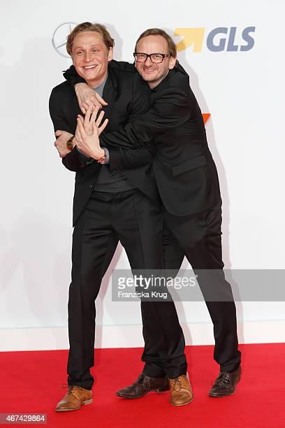 Matthias Schweighoefer and Milan Peschel attend the 'Der Nanny' German Premiere on March 24 2015 in Berlin Germany
