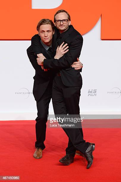 Matthias Schweighoefer and Milan Peschel attend the German premiere of the film 'Der Nanny' at CineStar on March 24 2015 in Berlin Germany