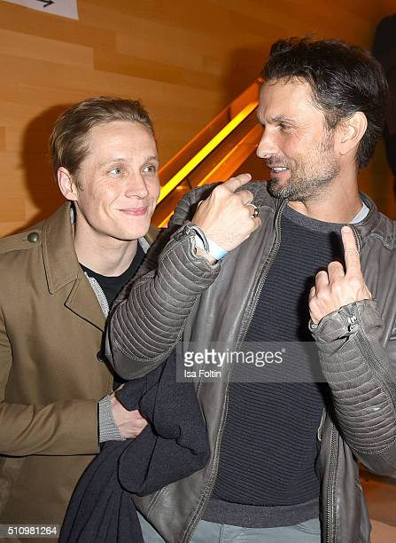 Matthias Schweighoefer and Simon Verhoeven attend the PantaFlix Party on February 17 2016 in Berlin Germany