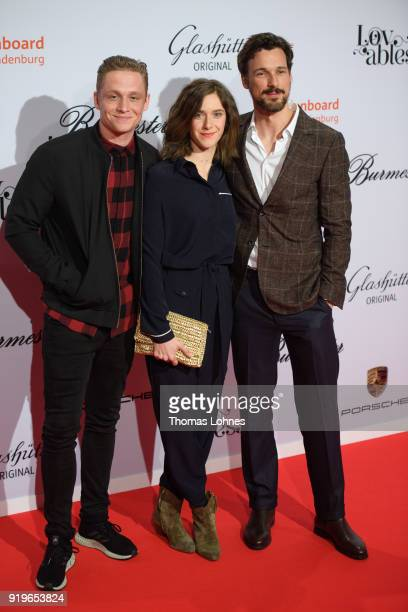Matthias Schweighoefer Anja Knauer and Florian David Fitz attend the Medienboard BerlinBrandenburg Reception at The 68th Berlinale International Film...