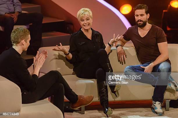 Matthias Schweighoefer Erika Eleniak and Tom Beck attend the taping of 'Back To School Gottschalks grosses Klassentreffen' Show on January 23 2014 in...