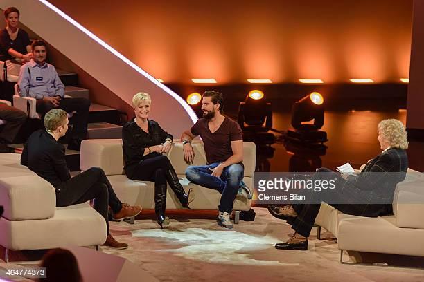 Matthias Schweighoefer Erika Eleniak Tom Beck and Thomas Gottschalk attend the taping of 'Back To School Gottschalks grosses Klassentreffen' Show on...