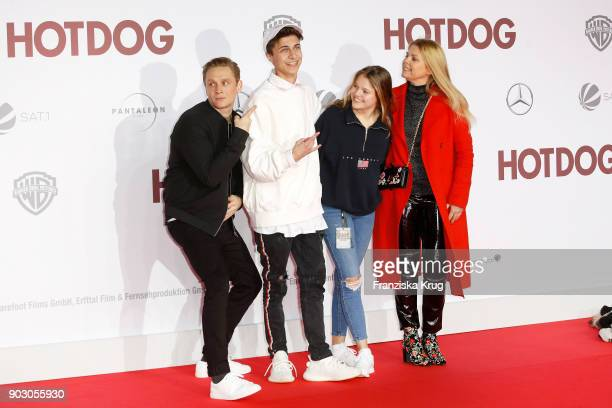 Matthias Schweighoefer Lukas Rieger and Faye Montana and her mother AnneSophie Briest attend the 'Hot Dog' Premiere at CineStar on January 9 2018 in...