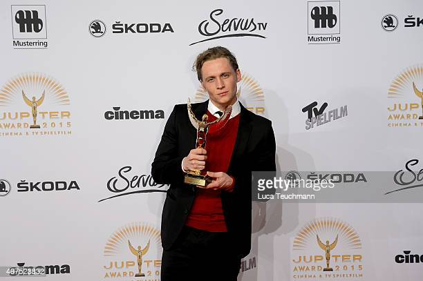 Matthias Schweighoefer poses with his prize during the Jupiter Award at Cafe Moskau on March 25 2015 in Berlin Germany
